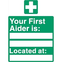 Stewart Superior Your First-Aider Is Located At Sign W150XH200mm Self Adhesive Sign