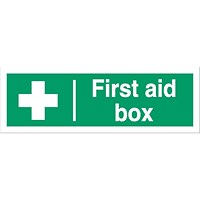Stewart Superior First Aid Box Sign W300xH100mm Self Adhesive Vinyl