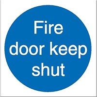 Stewart Superior Fire Door Keep Shut Sav Signs W100xH100 Self-adhesive Vinyl [Pack 5]