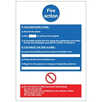 Stewart Superior Fire Action Sign W210xH297mm PVC