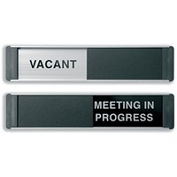 Stewart Superior Vacant/Meeting In Progress Door Panel Aluminium/PVC W255xH52mm Self-adhesive