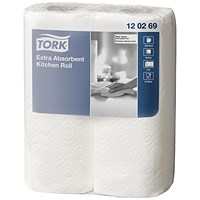 Tork Extra Absorbent Recycled Kitchen Towels, 2-Ply, White, 2 Rolls of 64 Sheets