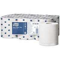 Tork Centrefeed Hand Towel Rolls, 1-Ply, White, 6 Rolls