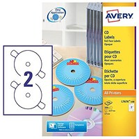Avery Laser CD/DVD Labels, 2 per Sheet, 117mm Diameter, Black and White, L7676-100, 200 Labels