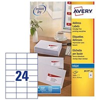 Avery Quick DRY Inkjet Addressing Labels, 24 per Sheet, 63.5x33.9mm, White, J8159-100, 2400 Labels