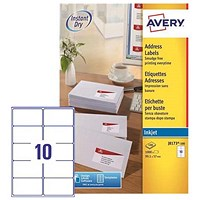 Avery Quick DRY Inkjet Addressing Labels / 10 per Sheet / 99.1x57.0mm / White / J8173-100 / 1000 Labels