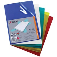Rexel Nyrex Cut Flush Folders, A4, Assorted, Pack of 25