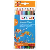 Lakeland Colour Thin Assorted Colouring Pencils - Pack 12