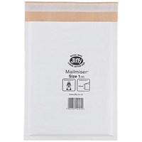 Jiffy Mailmiser No.1 Bubble-lined Protective Envelopes, 170x245mm, White, Pack of 100