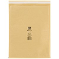 Jiffy Airkraft No.7 Bubble Bag Envelopes, 340x445mm, Gold, Pack of 50
