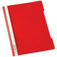 Durable A4 Clear View Folders, Extra Wide, Red, Pack of 50