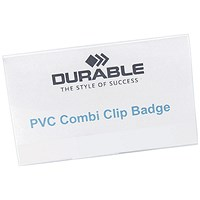 Durable Name Badges, Combi-Clip, 90x54mm, Pack of 50
