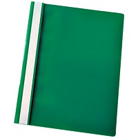 Esselte A4 Report Flat Files, Green, Pack of 25