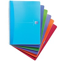 Oxford Office Wirebound Notebook, A4, 180 Pages, Random Bright Colour, Pack of 5