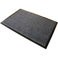 Floortex Anti-slip Mat on Roll, Polypropylene, Plush Pile, 900x3000mm, Grey