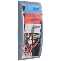 Fast Paper Wall-Mounted Literature Holder / 4 x A4 Pockets / Silver