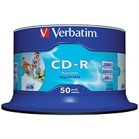 Verbatim CD-R Inkjet Printable Spindle - Pack of 50