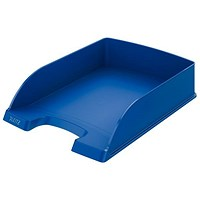 Leitz High-Sided Letter Tray with Extra Label Space - Blue