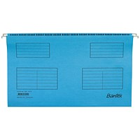 Bantex Flex Kraft Suspension Files, V Base, 15mm to 30mm Capacity, Foolscap, Blue, Pack of 25
