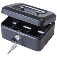 Cash Box with Lock & 2 Keys Removable Coin Tray 6 Inch W152xD115xH70mm Black
