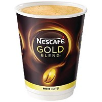 Nescafe & Go Gold Blend White Coffee Foil - sealed Cup for Drinks Machine - Sleeve of 8
