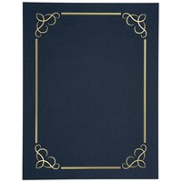 Linen Finish Heavyweight Card Stock Certificate Covers, Blue, 240gsm, Pack of 5