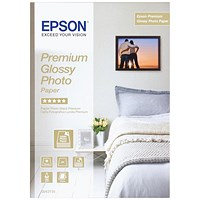 Epson A4 Premium Glossy Photo Paper, White, 255gsm, Pack of 15