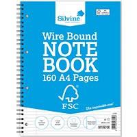 Silvine Wirebound Notebook, A4, Perforated, 160 Pages, Pack of 5