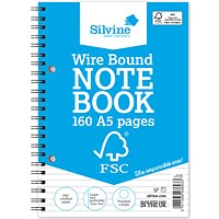Silvine Wirebound Notebook, A5, Feint Ruled, 160 Pages, Pack of 5
