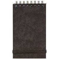 Wirebound Notepad, 177x76mm, Elasticated, Ruled, 120 Pages, Black, Pack of 10