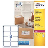 Avery Recycled Laser Addressing Labels / 8 per Sheet / 99.1x67.7mm / White / LR7165-100 / 800 Labels