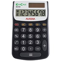 Aurora EcoCalc Handheld Calculator, 8 Digit, 4 Key, Solar Power, Recycled, Black
