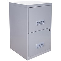 Pierre Henry A4 Filing Cabinet, 2-Drawer, Silver