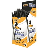 Bic Cristal Large Ballpoint Pen, Broad Nib, Black, Pack of 50