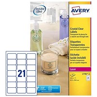Avery Crystal Clear Durable Laser Labels, 21 per Sheet, 63.5x38.1mm, Transparent, L7782-25, 525 Labels
