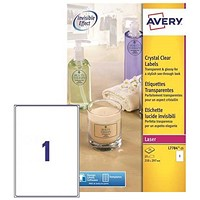 Avery Crystal Clear Durable Laser Labels / A4 / 1 per Sheet / Transparent / L7784-25 / 25 Labels