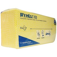 Wypall X50 Cleaning Cloths, Yellow, Pack of 50