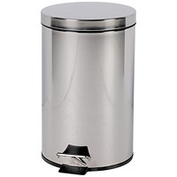 Pedal Bin, Removable Plastic Liner, 12 Litre, Stainless Steel