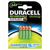 Duracell StayCharged Long-life Rechargeable Battery, 800mAh, 1.2V, AAA, Pack of 4