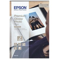 Epson Premium Glossy Photo Paper, 100mm x 150mm, White, 255gsm, Pack of 40