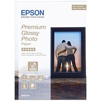 Epson Premium Glossy Photo Paper, 130 x 180mm, White, 255gsm, Pack of 30