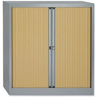 Trexus Medium Side Opening Tambour Cupboard, 1000mm High, Beech Shutters, Silver Frame