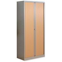 Trexus Side Opening Tambour Cupboard, 1970mm High, Beech Shutters, Silver Frame