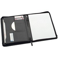 5 Star Zipped Conference Folder Portfolio, W248xH329mm, A4, Black