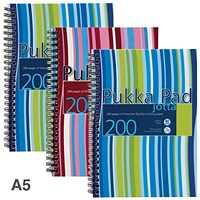Pukka Pad Jotta Wirebound Notebook, A5, Ruled, 200 Pages, Assorted Colours, Pack of 3
