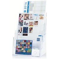 Literature Display Holder, Multi-Tier for Wall or Desktop, 4 x A4 Pockets, Clear