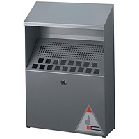 Durable Ash Bin Wall-mounted Capacity of 4 Litres 310x107x450mm Silver