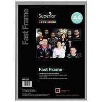 5 Star Silver Photo Frame - Back Loading - Clear Front - A4