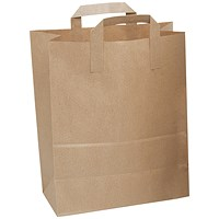 Paper Carrier Bags, Brown, Pack of 250