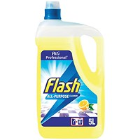 Flash All Purpose Cleaner for Washable Surfaces, Lemon Fragrance, 5 Litres